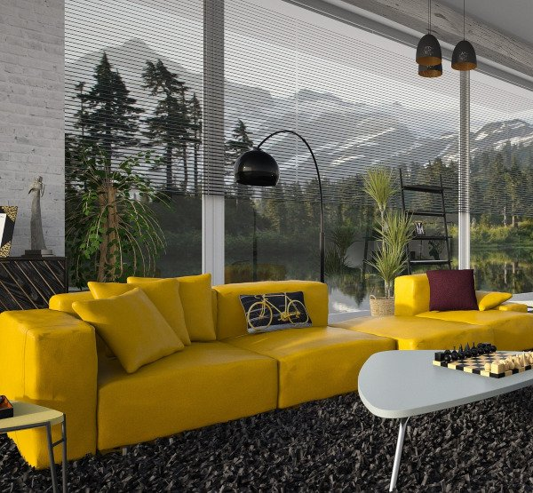 Bright Yellow Sofa - Space Clearing Can Be Done On It Too