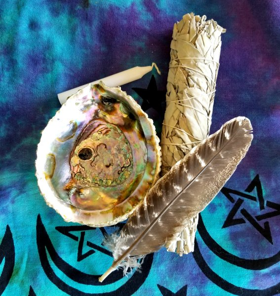 Sacred White Sage Smudge Stick with Abalone Shell and Feather