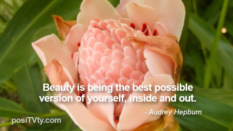 Inspirational Quote by Audrey Hepburn - Beauty Is Being The Best Possible Version of Yourself