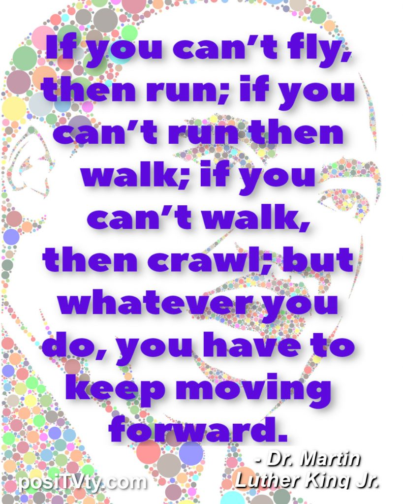 Motivational Quote By Dr. Martin Luther King Jr. - If you can't fly, then run; if you can't run then walk; if you can't walk, then crawl; but whatever you do, you have to keep moving forward